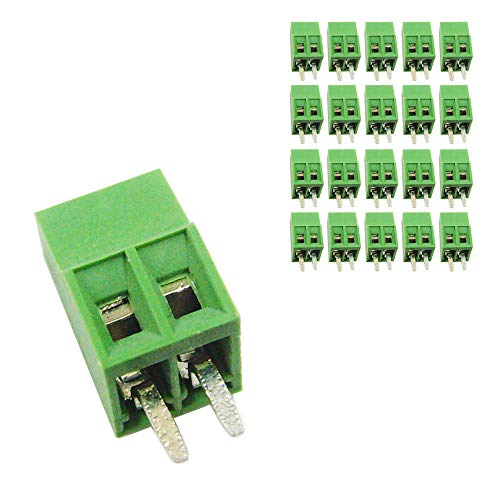 DBParts 20pcs 2-Pin (2 Pole) Plug-in Screw Terminal Block Connector 2.54mm Pitch Panel PCB Mount -