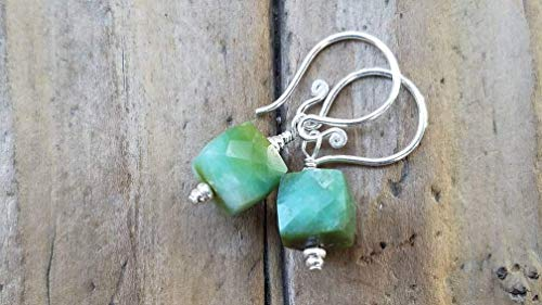 Green Peruvian Opal and Sterling Silver Earrings