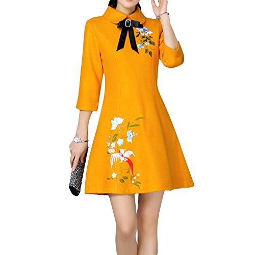 Dezzal Women's Vintage Embroidered Doll Collar Wool Cocktail Dress(Yellow,S)