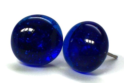 Recycled Vintage Cobalt Noxzema Jar Simple Post Earrings