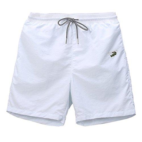 Hai Hai Beach Shorts Spring Summer Men's Outdoor Home Sports Running Five Casual Beach Shorts, M, White