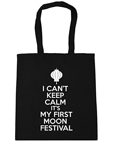 HippoWarehouse no puedo Mantener la calma es mi primera luna Festival Tote Compras Bolsa de playa 42cm x38cm, 10litros negro