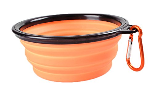 Freerun Collapsible Travel Dog Bowl Carabiners Included - Pet Travel Bowl for Food & Water Bowls (Orange) by Freerun