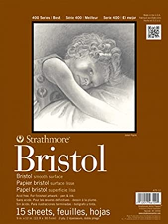 11x14 Tape Bound Strathmore 400 Series Bristol 15 Sheets 2-Ply Smooth