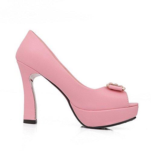 AllhqFashion Women's High Heels Soft Material Solid Pull On Peep Toe Sandals Pink TDMCvst2