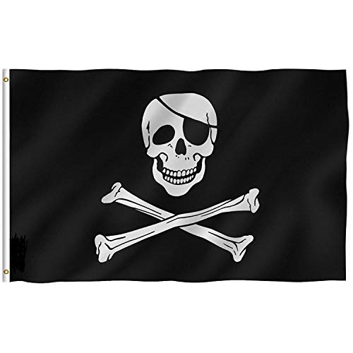 (DANF FLAG 1 Pack Pirate Flag Skull and Crossbones Jolly Roger 3 by 5 FT Polyester Flag Banner)