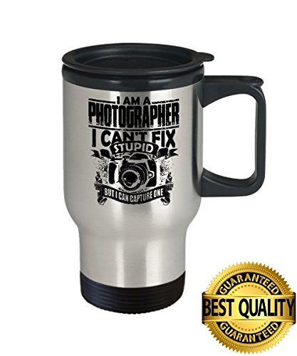 BEST QUALITY, Photographer Travel Mug, Best Gift For Photographer Cup, 14oz Stainless Steel, by - Glasses I Get Can For Where Lenses Clear My