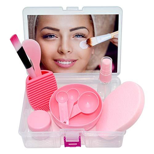 Face Mask Bowl Set, Lady Facial Care Mask Facemask Mixing Tool Sets, Bowl Stick Brush Gauge Cleaning Mat (11 in 1 Set -Pink) (Facial Skin Care Tool)