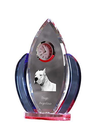 Dogo Argentino, Crystal Clock, Shape of Wings with The Image of a Dog 2
