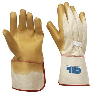 C.R. LAURENCE 12 CRL Gauntlet Cuff Smooth Natural Rubber Palm Gloves ()
