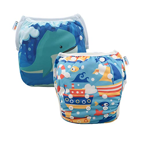 ALVABABY 2pcs Swim Diapers Reuseable Adjustable for Baby Gifts & Swimming Lessons (Whale and Boat, 0-2 Years) SWD36-41 ()