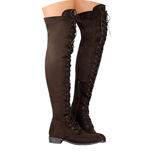 Sexy Lace Up Over Knee Boots Women Flats Shoes Woman Suede Long Boots Winter Thigh High Boots,Brown,9 ()