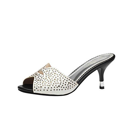 Mee Shoes Sweet PU Leather Kitten-heel Rhinestone Dots Decoration Slipper Sandals Shoes White zI8oXEmb