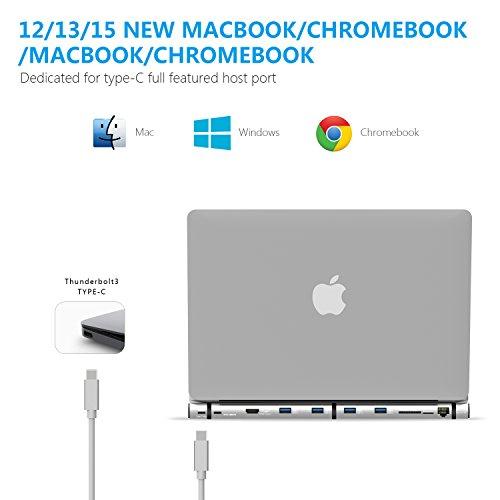 WNNT Type C/Thunderbolt3 Docking Station, Passing-Through PD Upto 87W, 4K HDMI, USB3.0 SD/microSD Card Reader, Giga-bit LAN, 4USB3.0. for 2015/2016/2017 New MacBook(not for 2018). Alum. housing by WNNT (Image #3)