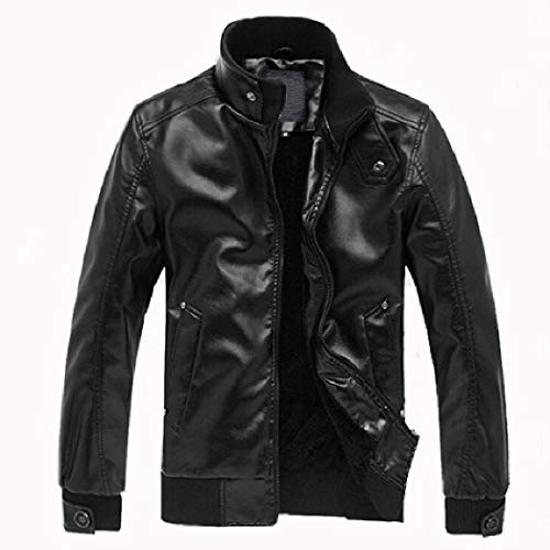 Stand Moto Mogogo Comfort Mens Solid Leather Jackets Thickening Zip Collar 1 Faux gqqwtUxT5