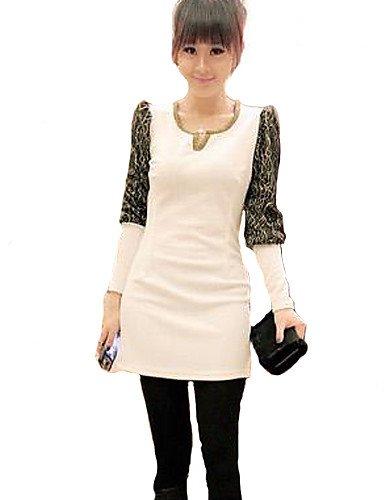 PU&PU Robe Aux femmes Gaine Mignon / Street Chic,Mosaïque Col en V Au dessus du genou Coton / Polyester , white-2xl , white-2xl