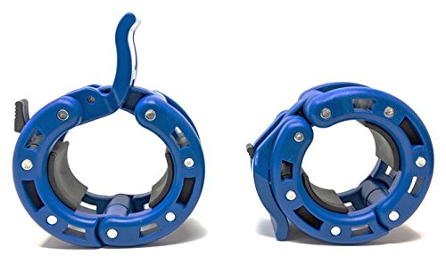 Clout Fitness PRO Premiere Quick Release Pair of Locking 2' Olympic Size Barbell Clamp Collar by (Blue 2-Pack)