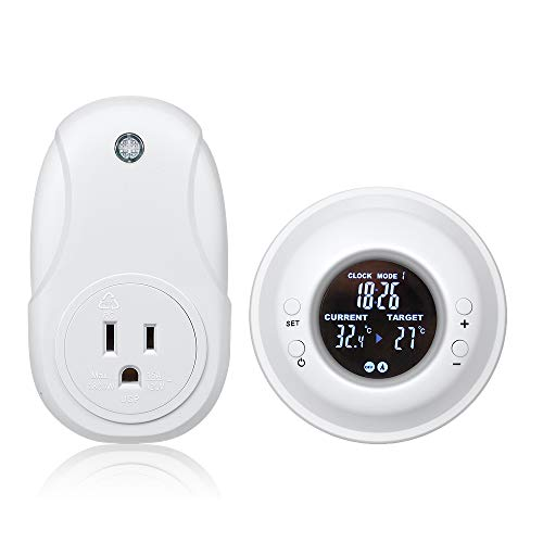 Nashone Digital Wireless Temperature Timer,Remote Control Thermostat Timer with LCD Display Electric Outlet Adjustable Heating Mode(wireless thermostat+timer)