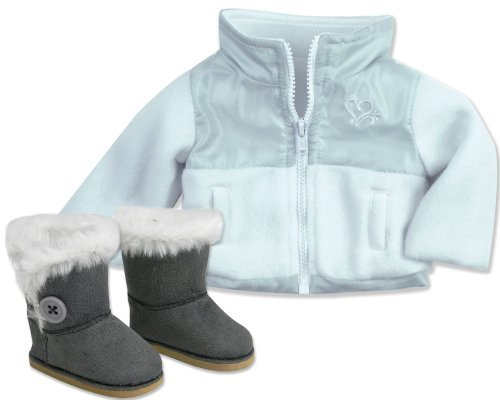American-Doll-Jacket-Button-Doll-Boots-in-Suede-Style-Fur-Trim-2-Pc-Set-Fits-18-Inch-Dolls-Stylish-WhiteGray-NylonFleece-18-Inch-Doll-Jacket-Gray-Ewe-Boots-Doll-Accessories