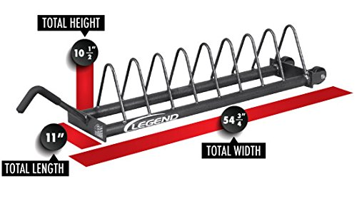 Legend Fitness 3163 USA-Made Horizontal Bumper Plate Rack with Wheels - Weight Plate Rack - Bumper Plate Storage