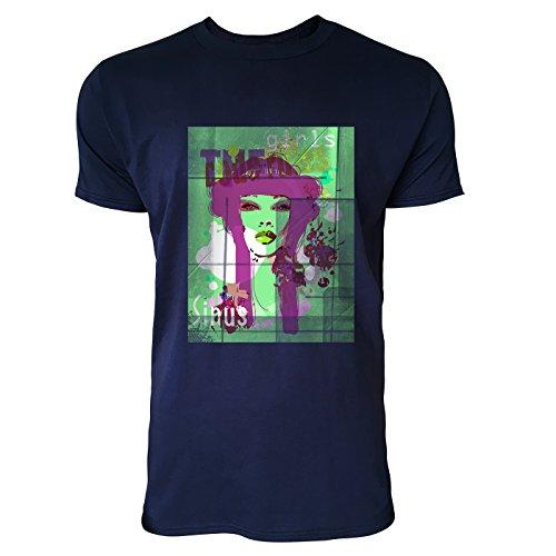 SINUS ART® Collage mit asiatischer Frau mit blauen Haaren Herren T-Shirts in Navy Blau Fun Shirt mit tollen Aufdruck