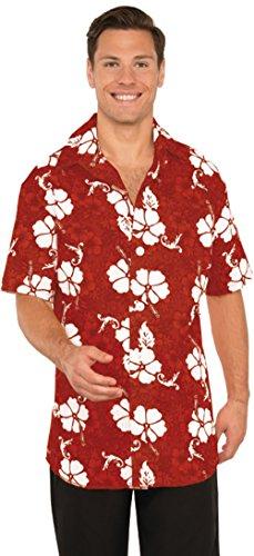Hawaiian Tourist Costume (Men's Hawaiian Tourist Floral Button Front Shirt Costume Medium 40-42)