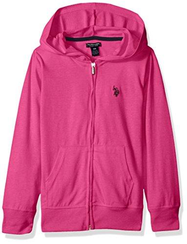 U.S. Polo Assn. Girls Long Sleeve Zip Up Jersey Hoodie, Black-3265