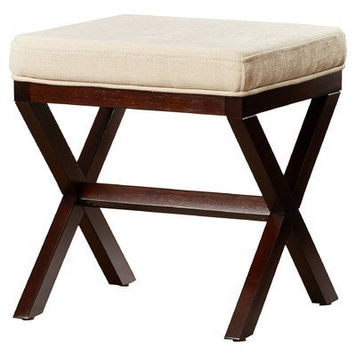 Bedroom/Bathroom Backless Vanity Stool Made w/ Polyester/Polyester Blend and Solid Hardwood in Avignon Stone and Espresso 18.5'' H x 17'' W x 17'' D in.