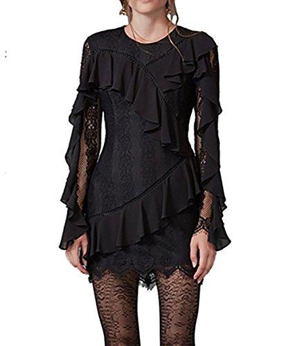 Keepsake Better Days Long Sleeve Lace Mini Dress In Black (Extra Small)