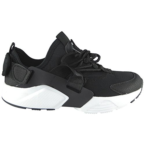 Womens Loud Flat Fitness Gym Shoes Comfy Lace 3 Sports Trainers 8 Black Ladies Look Size White up Running 554wqpgrz