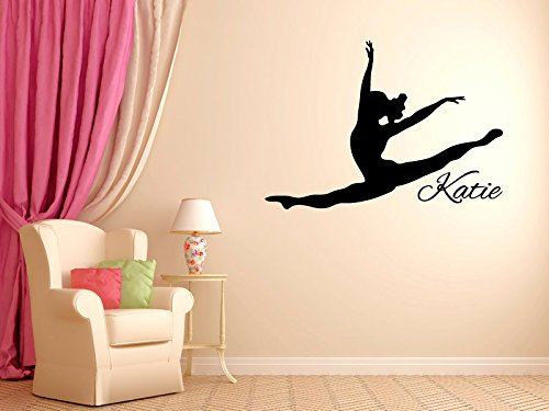 Personalized Leaping Dancer Wall Decal Vinyl Sticker Dance Studio Bedroom Wall Home Decor