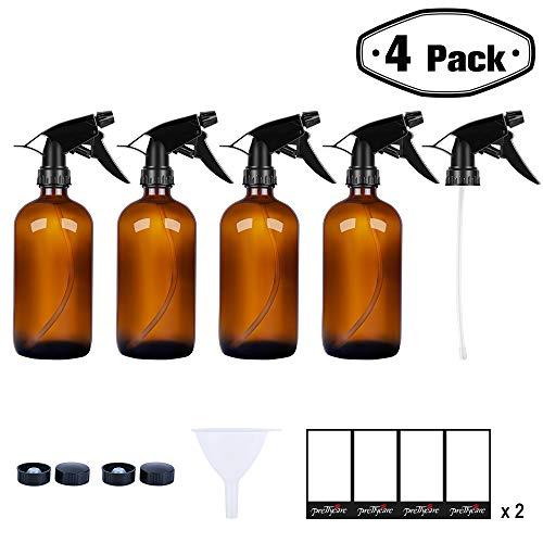 PrettyCare Glass Spray Bottles 16 oz (4 Pack Amber Bottles, 8 Labels, 1 Funnel, 1 Extra Sprayer Fine Mist Sprayers Dispenser Essential Oils, Lab Chemicals, Colognes & Perfumes -