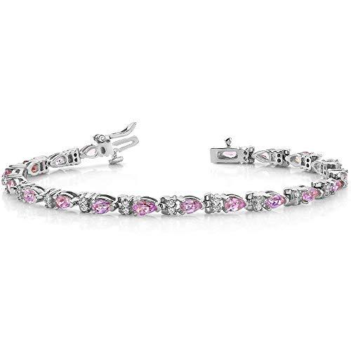 14K White Gold Finish 3.0 Ctw Pear Cut Pink Sapphire CZ Tennis Bracelet