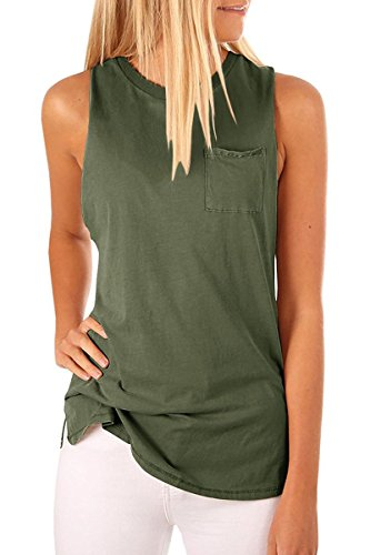 LAICIGO Womens Sleeveless Tank Tops Crew Neck Plain with Pockets Casual Summer T-Shirts