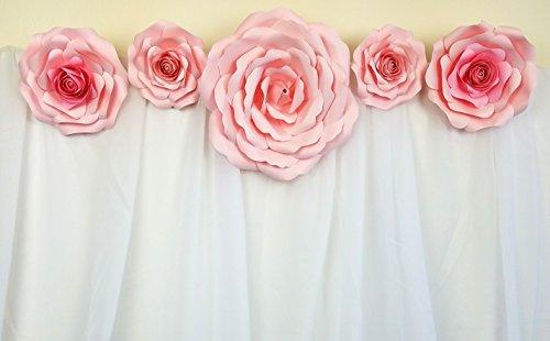 DecorInTheBox- Large Handmade 5 Piece Paper Flower Set Baby Shower Nursery Decoration, Fully Assembled (Light Pink)