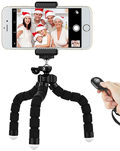 Mini Phone Tripod with Universal Mount and Adjustable Camera Stand Holder and Bluetooth Remote for All iPhones, Samsung Phones,GoPro and More 7L-ZAJX-JSSY 10' Universal Foam