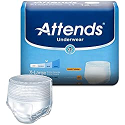 Attends Protective Underwear with DermaDry Technology for Adult Incontinence Care, X-Large, Unisex, 14 Count (Pack of 4)