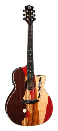 Luna VISTAMUSTANG A/E Tropical Wood Guitar, Rosewood Back