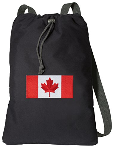 Canada Drawstring Backpack Canadian Flag Bags RICH Dye Washed Cotton (Backpack Flag Canada Women compare prices)