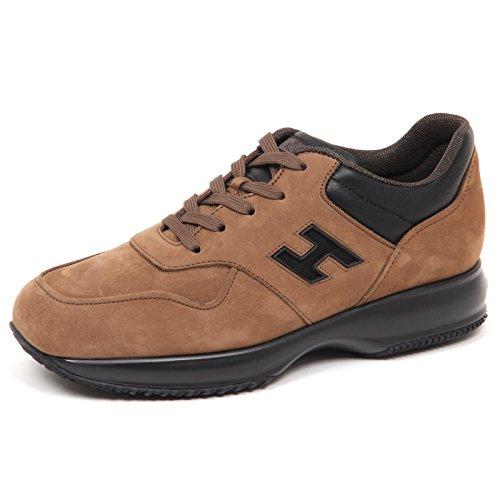Hogan E5028 Sneaker Uomo Brown/Black Interactive Scarpe H Rete nabuk Shoe Man Marrone/Nero
