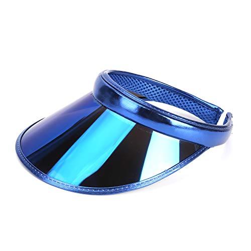 (Sun Visor Hats Summer Cap Plastic UV Protection Adjustable Headband for Outdoor Golf Riding Beach Hiking Blue)