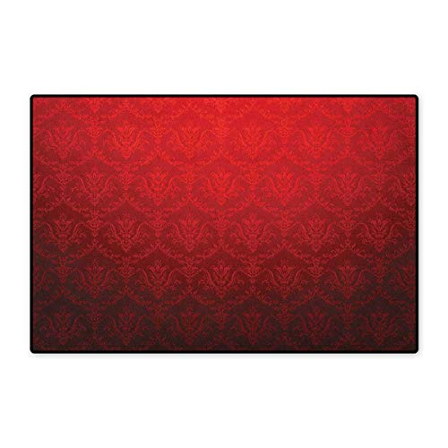 """Dark Red,Door Mat for Tub,Antique Floral Pattern with Baroque Royal Renaissance Influences and Ombre Effect,Customize Door Mat with Non Slip Backing,Red Black,Size,16""""x24"""" (W40cm x L60cm)"""