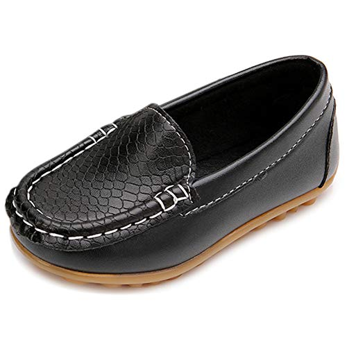 Moceen Toddler Boys Loafer Shoes Soft Synthetic Leather Slip On Moccasin Flat for Girls Boat Dress Shoes,Black,8101 CN28]()