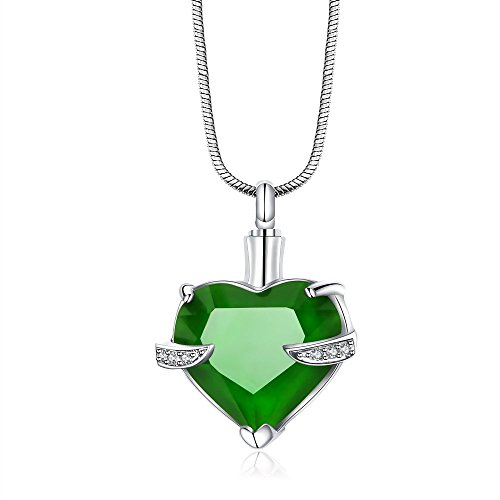 Helome Love Heart Gemstone Cremation Jewelry Pendant Necklace Memorial Ash Keepsake (Green)