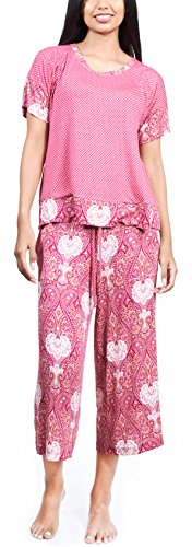 Pj Ladies Set (Summer Pajamas for Women, Stylish Print Ladies Pajama Set - Bohemian Night Raspberry Oversized Shirt and Capri Lounge Pants 1X)