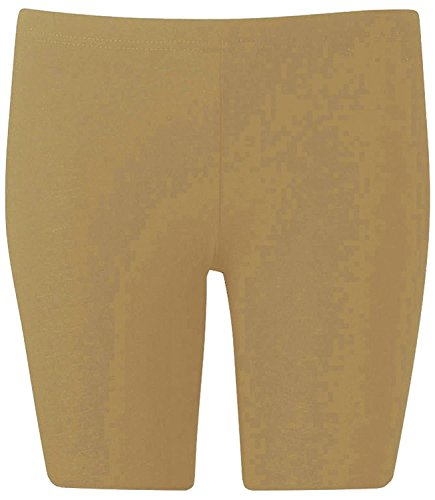 New Womens Plus Size Over Knee Plain Jersey Cycling Shorts ( Beige, 1X )