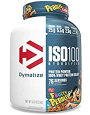 Dymatize ISO100 Hydrolyzed Protein Powder, 100% Whey Isolate Protein, 25g of Protein, 5.5g BCAAs, Gluten Free, Fast Absorbing, Easy Digesting, Fruity Pebbles, 5 Pound