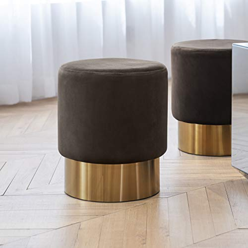 Art Leon Small Round Velvet Ottoman, Upholstered with Gold Plating Base Footstool Rest Extra Seat, Pack of 1 ()