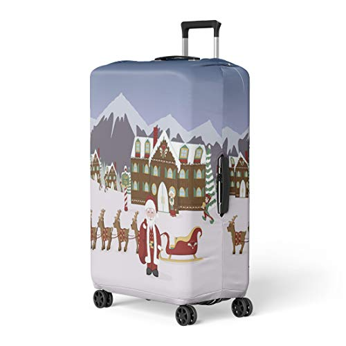 Pinbeam Luggage Cover Santa North Pole Village Scene His Sleigh Elves Travel Suitcase Cover Protector Baggage Case Fits 22-24 inches
