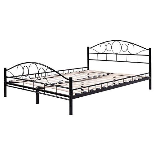 Make Wood Headboard (Queen Size Wood Slats Steel Bed Frame Platform Headboard Footboard Black)